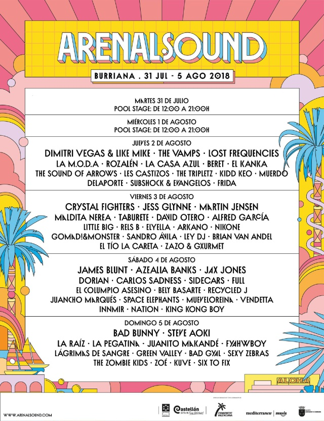 Bad Bunny, Jax Jones, Azaelia Banks o Alfred de 'OT', el cartelazo del 'Arenal Sound 2018'