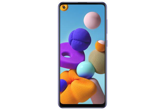 Agujerito en la pantalla para la minúscula cámara selfie del A21s  Samsung