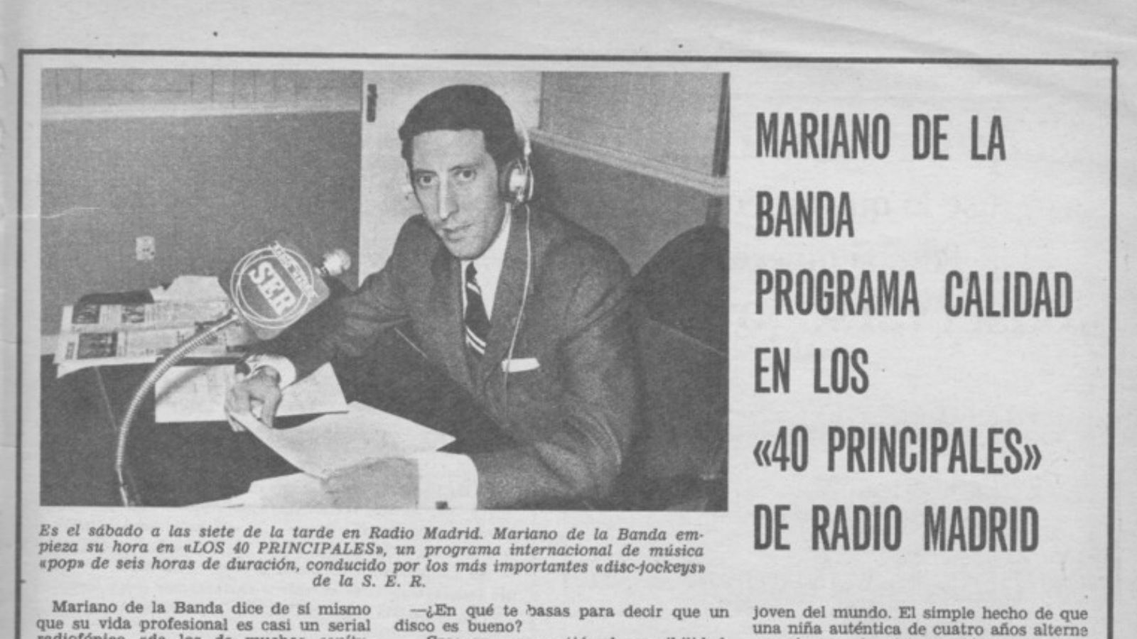 Mariano de Labanda, local en Radio Madrid, El Gran Musical.