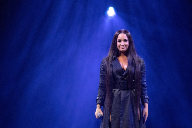 Demi Lovato performs on stage at The SSE Hydro