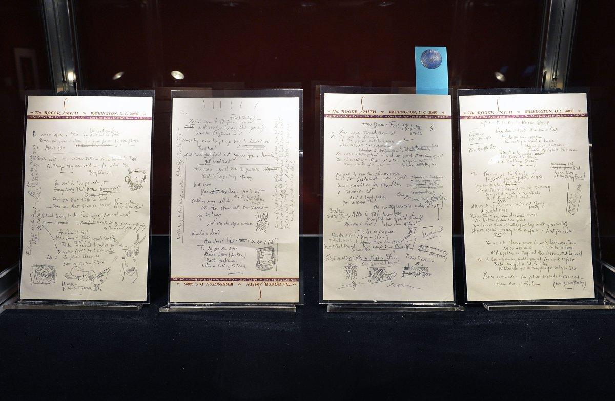Letra manuscrita por Bob Dylan