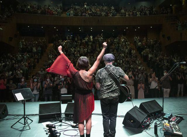 Eva y Juan, el pasado 11 de julio en Huesca.